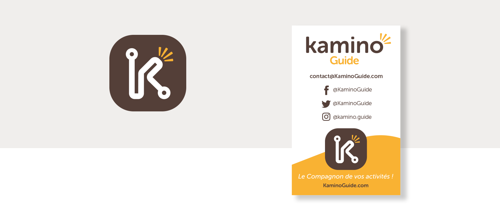 Logo et carte de visite de l'appli KAMINO